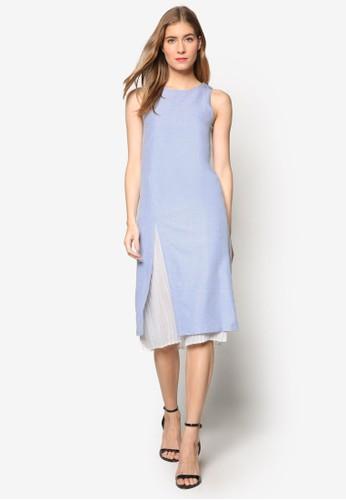 Evon 前開叉細褶層次休閒連身裙, 服飾, esprit香港分店夏日洋裝