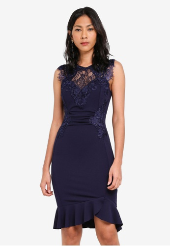 Lipsy navy Navy Ruched Lace Frill Hem Dress B536CAAAD46B41GS_1
