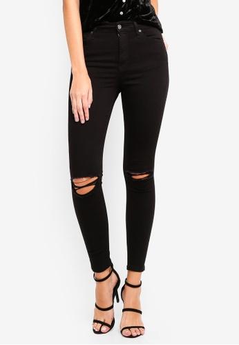 TOPSHOP 黑色 Black Rip Jamie Jeans 33E72AAA5932DEGS_1
