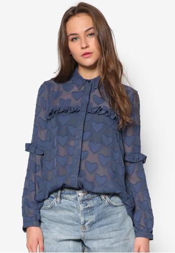 心形荷葉zalora時尚購物網評價飾長袖襯衫, 服飾, 上衣