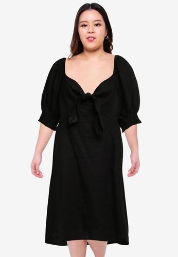 Cotton On black Plus Size Woven Charlie Tie Front Mini Dress 50A5DAA553E0D8GS_1