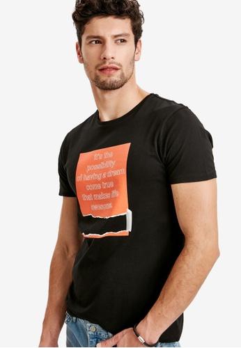 LC Waikiki black Printed Crew Neck T-Shirt 4D195AA99FC1B9GS_1