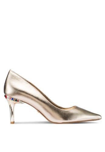 Dune London 金色 鑽飾金屬感後粗跟高跟鞋 104BBSH7B1C482GS_1