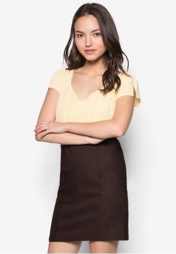 Cesprit台灣門市arment 雙色時尚連身裙, 服飾, 洋裝