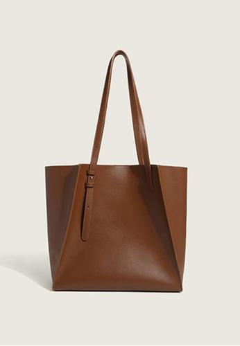 Lara brown Women's PU Leather Magnetic Buckle Tote Bag - Brown 1BAF9ACC4C3164GS_1