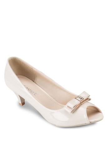 蝴蝶結露趾中高跟鞋, 女鞋,esprit專櫃 鞋