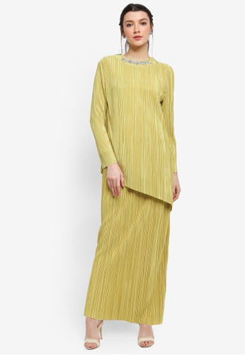 Zalia green Asymetrical Pleated Set with Embellished Neckline EF0A0AA5498827GS_1