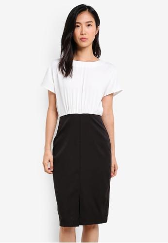 ZALORA black and white Blouson Pencil Dress 3F549AA93239B5GS_1