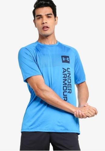 Under Armour 藍色 Tech 2.0 Vert Wordmark Short Sleeves Tee 02311AA8BE81F9GS_1
