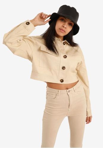 PIMKIE white Button Crop Jacket 753F7AA71E1A94GS_1