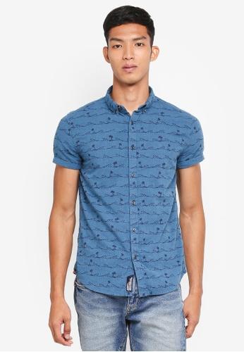 Superdry 藍色 短袖印花襯衫 10935AAA50DA1DGS_1