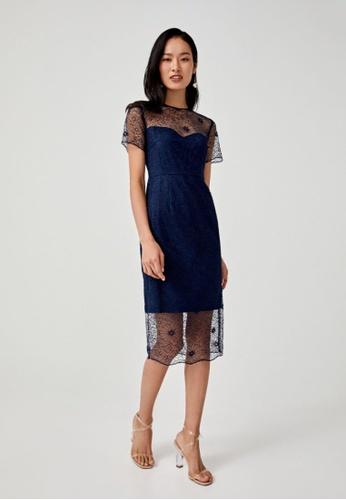 Love, Bonito blue Alisha Lace Overlay Pencil Dress 120AFAAC1CC162GS_1