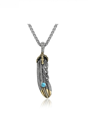 HAPPY FRIDAYS Vintage Feather Antique Effect Necklace JW QF-DZ361-A 18812AC5986C29GS_1