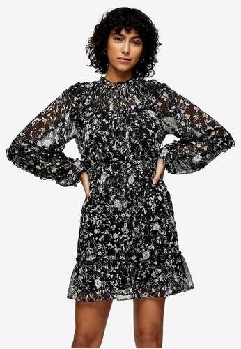 TOPSHOP multi Monochrome Ruffle Detail Mini Dress 09656AA6BB0E77GS_1