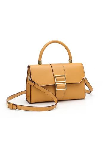 Lara yellow Women's PU Leather Flap Shoulder Bag Handbag - Yellow 15ACEACAFEB96FGS_1