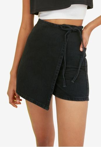 Trendyol 黑色 Asymmetric 前丹寧 褲裙 D68C4AAE3DAC30GS_1