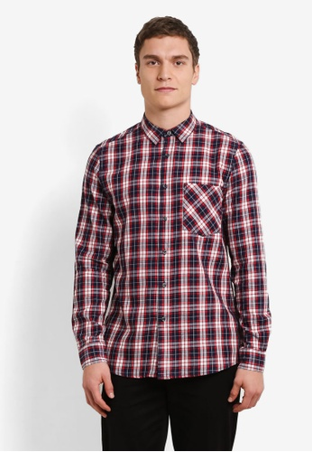 Topman red and navy Checkered Shirt TO413AA0SHC6MY_1