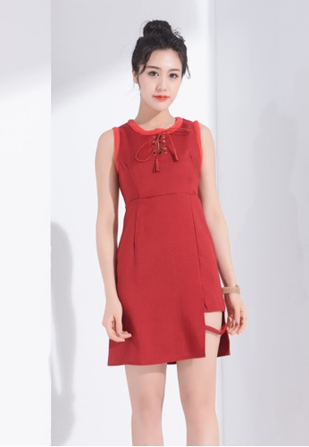 Zafiti red Round Neckline Sleeeless Drawstring Dress 094FAAA45FE89BGS_1