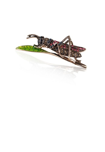 Glamorousky purple Fashion Personality Plated Gold Locust Brooch with Cubic Zirconia 78279ACA7F379AGS_1