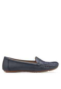 Moccasin 刺繡鞋面平底鞋
