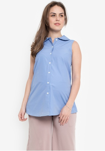 Mommy Plus blue Liezl Maternity Top MO015AA0KGEUPH_1
