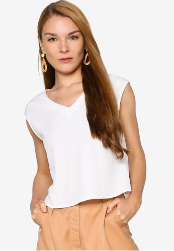 ZALORA WORK white Oversized V Neck Top 1DED5AAFCF24AAGS_1