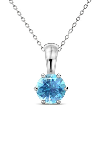 Her Jewellery blue Her Jewellery Birth Stone Pendant (March) with Necklace Chain with 18K Gold Plated 95BF7AC559B8D7GS_1
