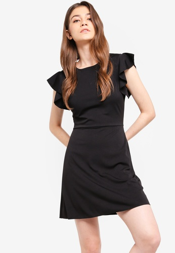 Something Borrowed black Flutter Sleeves Fit And Flare Dress 25ED3AA01316EDGS_1