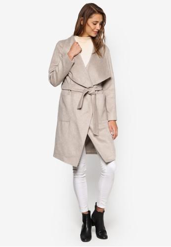 流水zalora退貨式繫帶大衣, 服飾, 夾克 & 大衣