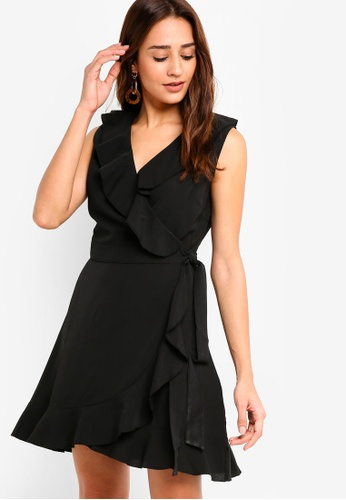 ZALORA black Ruffle Wrap Dress 23026AAC2BABDFGS_1