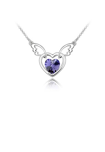 Glamorousky purple Fashion Angel Wings Necklace with Purple Austrian Element Crystal BF651ACF4ABA1BGS_1