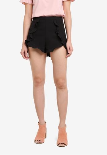 Something Borrowed black Shorts With Crossover Ruffles 3B278AA56BA2EAGS_1