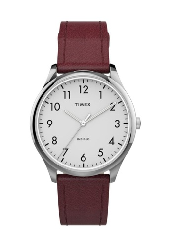 Timex red and silver Timex Easy Reader 32mm - Silver-Tone Case, Red Strap (TW2T72200) A00ABACD23B8BFGS_1