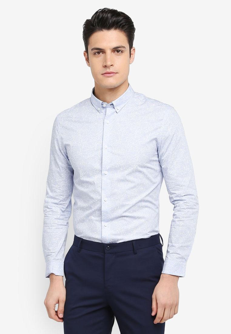 Line Shirt Print Sleeve Long Irregular Blue G2000 wBqF0xd
