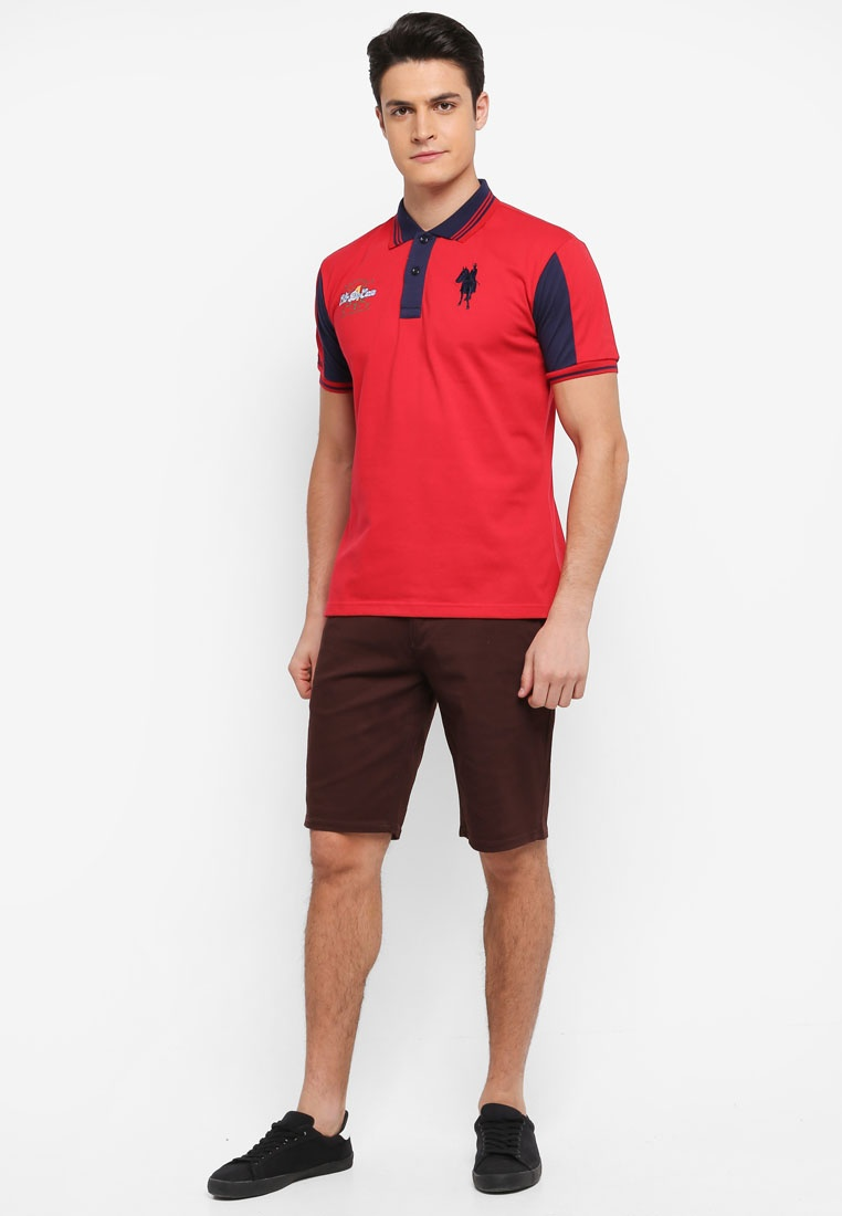 Red Polo Tee Contrasted and Fidelio Sleeves Collar wqFB0xaR