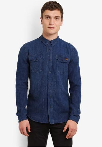 Superdry blue Dragway Denim Shirt SU137AA0RY5TMY_1