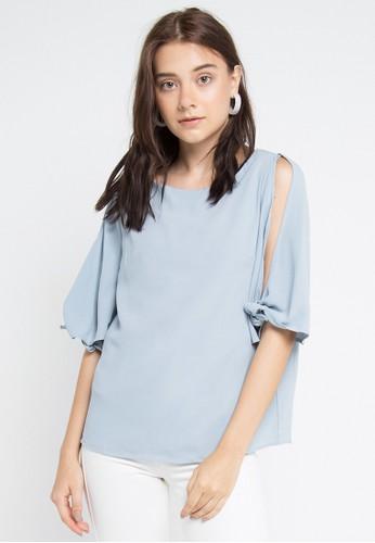 Uptown Girl blue Tied Split Sleeves Blouse 1BC76AA497248DGS_1