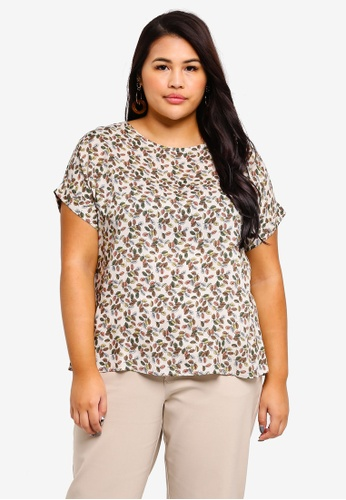 Ex'otico white Plus Size Short Sleeve Printed Blouse 7E877AA2A8ADF3GS_1