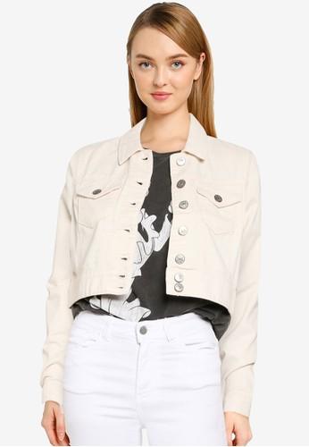 ONLY beige Westa Ecru Cropped Denim Jacket D498FAA78677BDGS_1