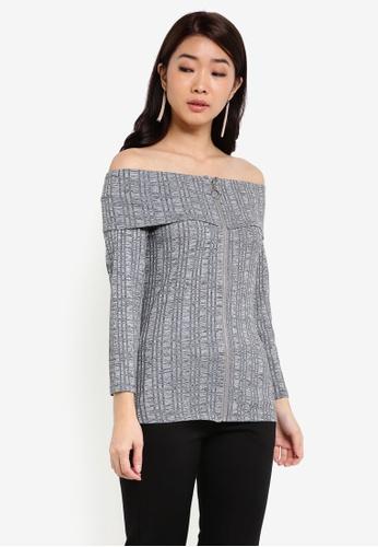 ZALORA grey Off Shoulder Knit Top DD7BFAA18A552DGS_1