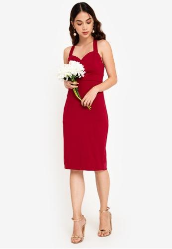 ZALORA OCCASION 紅色 伴娘Sweet愛心緊身洋裝 ED325AA7FEADD0GS_1