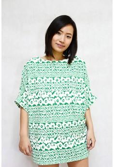 Floral Stripe Print Big Blouse