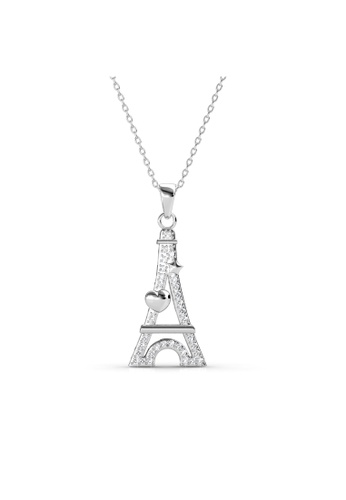 Her Jewellery white Her Jewellery Paris Love Pendant (White Gold) with Necklace Chain with 18K Gold Plated 4F629AC408039FGS_1