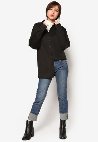 韓系時尚玫瑰壓花寬版長袖襯衫, 服飾, zalora 順豐上衣