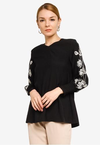 Gene Martino black Floral Insert Muslimah Top 12671AAC429224GS_1