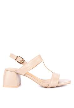 1750c1c0688 Matthews beige Kelly T-Strap Heeled Sandals 8A83CSH1A11975GS 1
