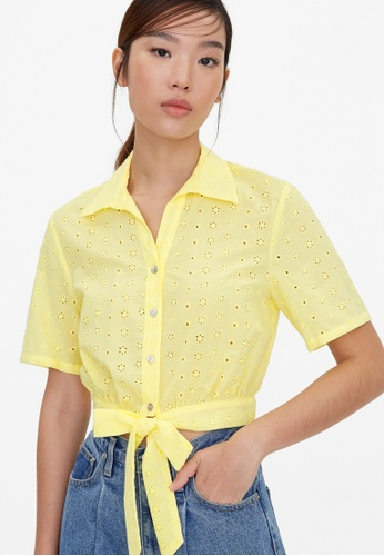 Pomelo yellow Front Tie Eyelet Crop Top - Yellow A1062AAE9D623CGS_1