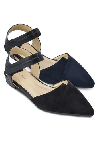二入組色塊側空繞踝zalora 包包 ptt平底鞋, 女鞋, 鞋