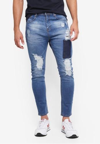 Penshoppe 藍色 緊身刷破牛仔褲 FFA76AA1E35D0EGS_1
