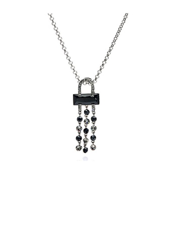 Glamorousky black Black Radient Shape Czech Crystal Bead Pendant with Austrian Element Crystals Tassels and Necklace 3964CACCCFA702GS_1